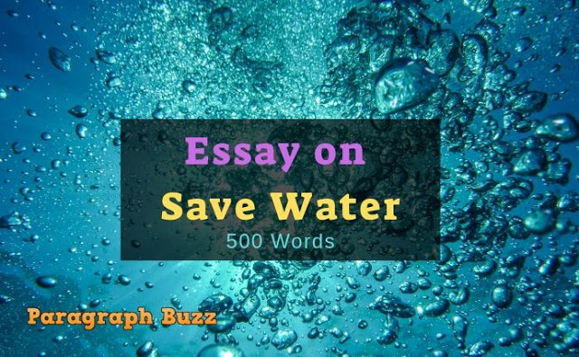Essay on Save Water in 500 Words