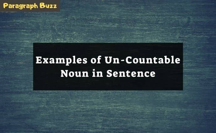 uncountable noun examples in sentences
